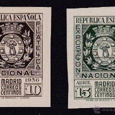 Sellos: 1936. EXPOSICIÓN FILATÉLICA DE MADRID NUEVOS CON FIJASELLOS EDIFIL Nº 727-728 CAT. 140 €. Lote 54209278