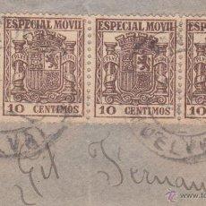 Sellos: S/FRAG, TIRA DE TRES DE TIMBRES 'ESPECIAL MOVIL' 10 CENTIMOSS. MATº ... (HUELVA).. Lote 54452977