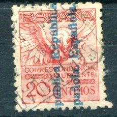 Sellos: EDIFIL 603. 20 CTS PEGASO, SOBRECARGA REPÚBLICA ESPAÑOLA. MATASELLADO.. Lote 54746686