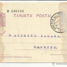 Selos: ENTERO POSTAL EDIFIL 69 CIRCULADO 1935 DE ARROYO DEL PUERCO A CACERES. Lote 55049953