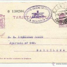 Timbres: ENTERO POSTAL EDIFIL 69 CIRCULADO 1936 ECONOMATO OBRERO DE CONSUMOS BEASAIN A BARCELONA . Lote 55051254