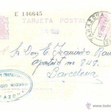 Sellos: ENTERO POSTAL EDIFIL 69 CIRCULADO 1935 TARAZONA ZARAGOZA A BARCELONA . Lote 55051271
