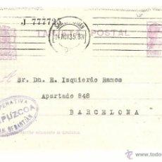 Sellos: ENTERO POSTAL EDIFIL 69 CIRCULADO 1935 DE COOPERATIVA GUIPUZCOA SAN SEBASTIAN A BARCELONA . Lote 55051412