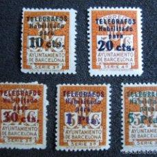 Sellos: BARCELONA 1934. TELÉGRAFOS HABILITADOS CON NUEVO VALOR. Nº 4/8. SERIE COMPLETA. . Lote 56418029