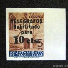 Sellos: BARCELONA 1936. TELÉGRAFOS HABILITADO CON NEUVO VALOR. Nº 9S SIN DENTAR. . Lote 56427755