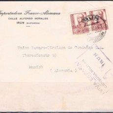 Timbres: 1938.- IRÚN (GUIPUZCUA) A MUNICH (ALEMANIA). Lote 56483740
