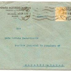 Sellos: SOBRE CON MEMBRETE DE ABOGADO. MADRID. 1918. Lote 57307979