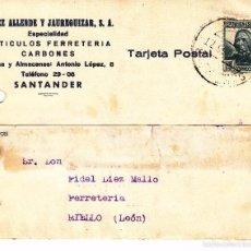 Sellos: CARTA: 1935 SANTANDER - RIELLO ( LEON) / SELLO 15 CTS. Lote 57365241