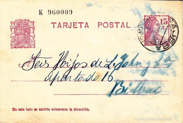 TARJETA POSTAL: 1936 NAJERA - BILBAO / SELLO 15 CTS (Sellos - España - II República de 1.931 a 1.939 - Cartas)