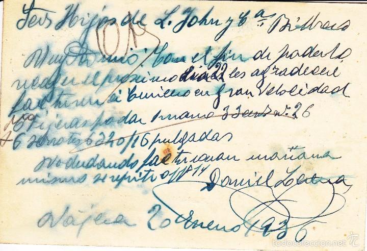 Sellos: TARJETA POSTAL: 1936 NAJERA - BILBAO / SELLO 15 CTS - Foto 2 - 57375696