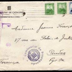 Sellos: 1937 GUERRA CIVIL - CARTA A FRANCIA - COMISSARIAT DE PROPAGANDA - CENSURA. Lote 57393817