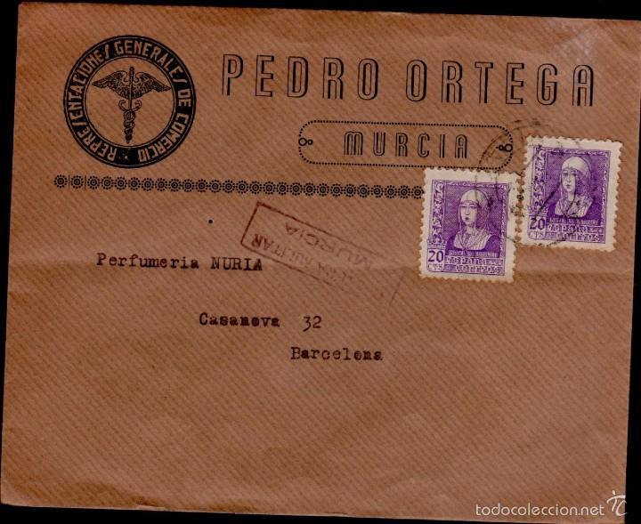 L16-6 GUERRA CIVIL - HISTORIA POSTAL. SOBRE DE PEDRO ORTEGA - REPRESENTACIONES GENERALES DE COMERCI (Sellos - España - II República de 1.931 a 1.939 - Cartas)