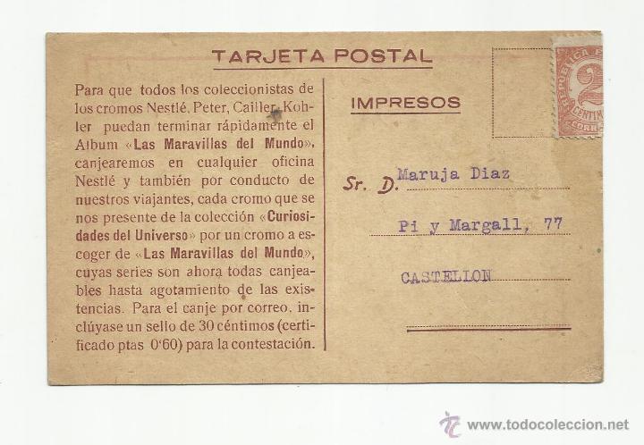 TARJETA POSTAL MARAVILLAS DEL MUNDO NESTLE CIRCULADA A CASTELLON VER FOTO (Sellos - España - II República de 1.931 a 1.939 - Cartas)