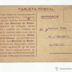 Timbres: TARJETA POSTAL MARAVILLAS DEL MUNDO NESTLE CIRCULADA A CASTELLON VER FOTO. Lote 58224281