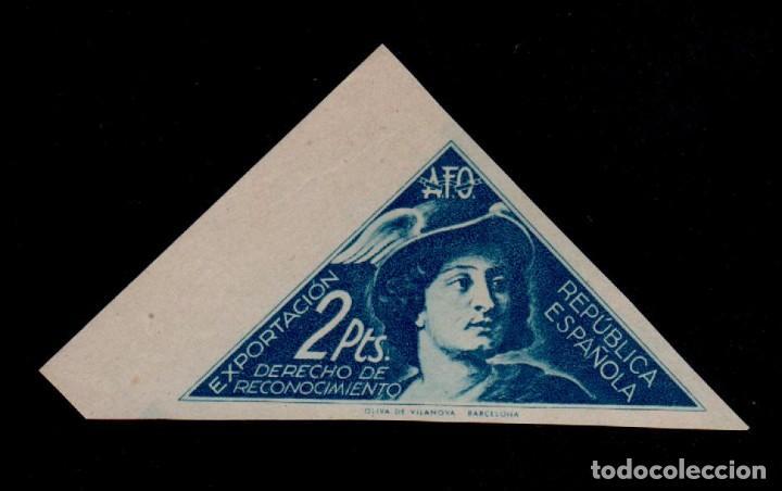 CL2-627 REPUBLICA ESPAÑOLA - AFO -EXPORTACION - DERECHO DE RECONOCIMIENTO - 2 PESETAS AZUL NO CATAL (Sellos - España - II República de 1.931 a 1.939 - Nuevos)