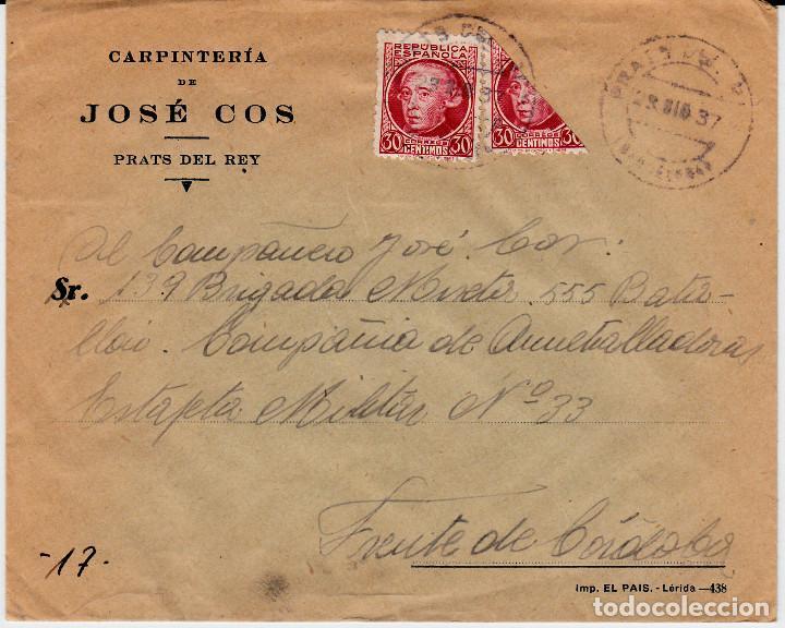 GUERRA CIVIL BISECTADO ELS PRATS DE REI -PRATS DEL REY -BARCELONA CARP. JOSE COS AL FRENTE CÓRDOBA (Sellos - España - II República de 1.931 a 1.939 - Cartas)