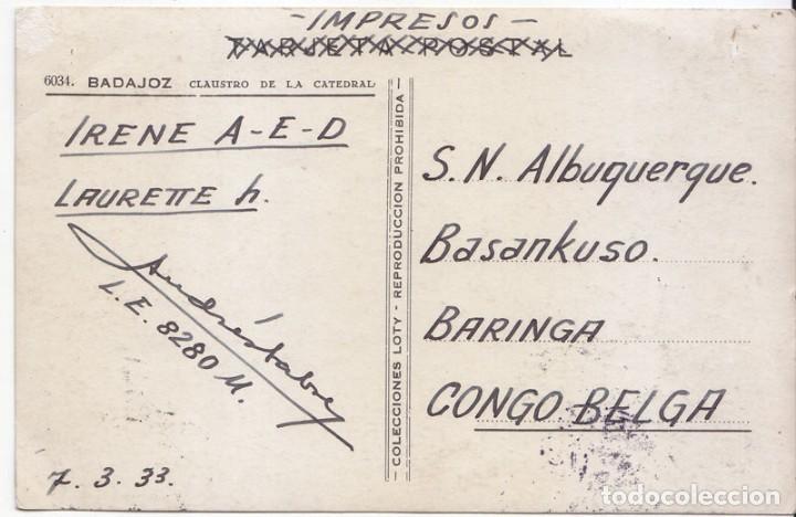 Sellos: POSTAL CIRCULADA COMO IMPRESOS AL CONGO BELGA. 1933. RARÍSIMO DESTINO. - Foto 2 - 67322549