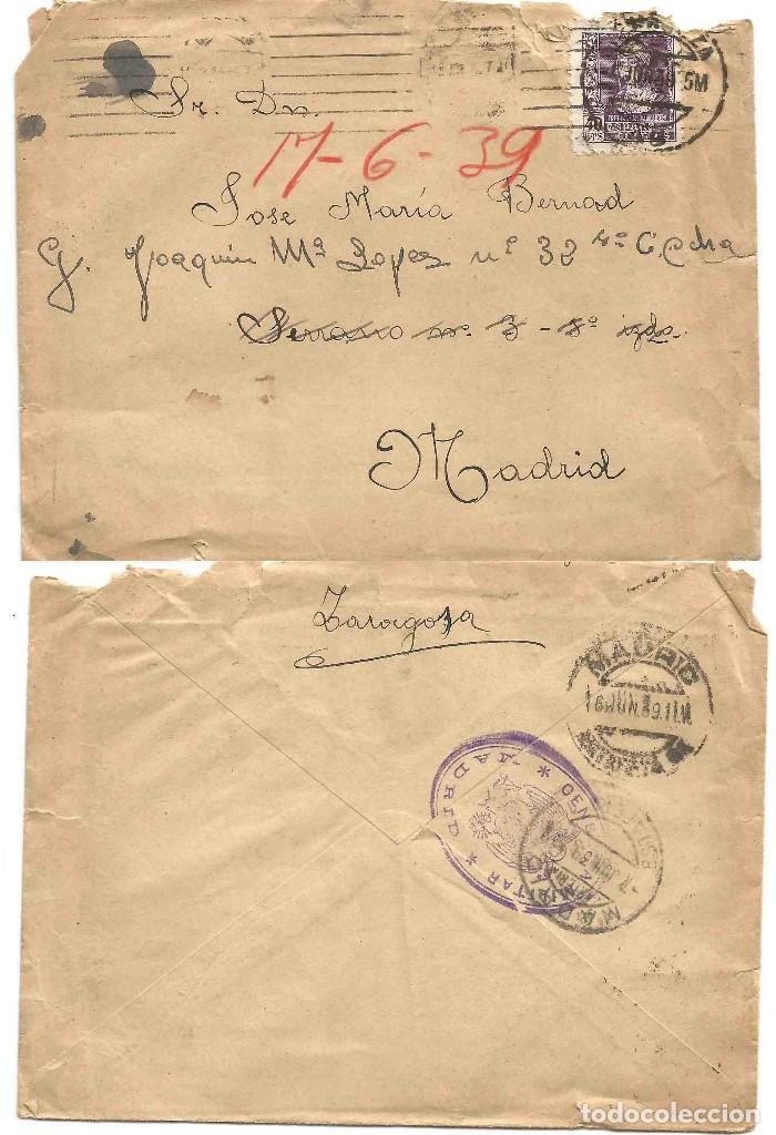 SOBRE ZARAGOZA. CENSURA MILITAR MADRID. 16 DE JUNIO DE 1939. ISABEL LA CATÓLICA 40 CTS. (Sellos - España - II República de 1.931 a 1.939 - Cartas)