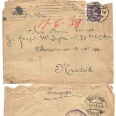 Sellos: SOBRE ZARAGOZA. CENSURA MILITAR MADRID. 16 DE JUNIO DE 1939. ISABEL LA CATÓLICA 40 CTS.. Lote 68993389