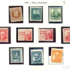 Sellos: CIFRA Y PERSONAJES 1936-38 COMPLETA NUEVA CON CHARNELA EDIFIL 731/40. Lote 69853201
