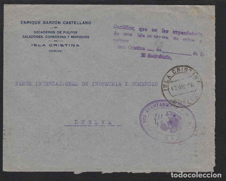 AÑO 1936. FRANQUICIA AYUNTAMIENTO ISLA CRISTINA (HUELVA) CERTIFICADO NO HAY SELLOS- CARTA (Sellos - España - II República de 1.931 a 1.939 - Cartas)