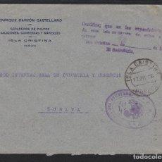 Sellos: AÑO 1936. FRANQUICIA AYUNTAMIENTO ISLA CRISTINA (HUELVA) CERTIFICADO NO HAY SELLOS- CARTA. Lote 72234139