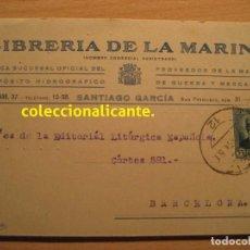 Sellos: CÁDIZ 1934 - LIBRERÍA DE LA MARINA - POSTAL CIRCULADA SEGUNDA REPÚBLICA ESPAÑOLA - BONITA. Lote 75313743