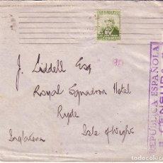 HP5-12B-Carta Barcelona Inglaterra 1937. Con Sello Castelar PERFORADO ASAB