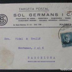 Sellos: TARJETA POSTAL CON MEMBRETE SOL GERMANS I CIA (MANRESA). Lote 76185203