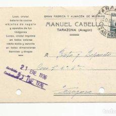 Sellos: TARJETA POSTAL CIRCULADA 1936 DE TARAZONA ARAGON A ZARAGOZA ESCRITA VER FOTO. Lote 78805813