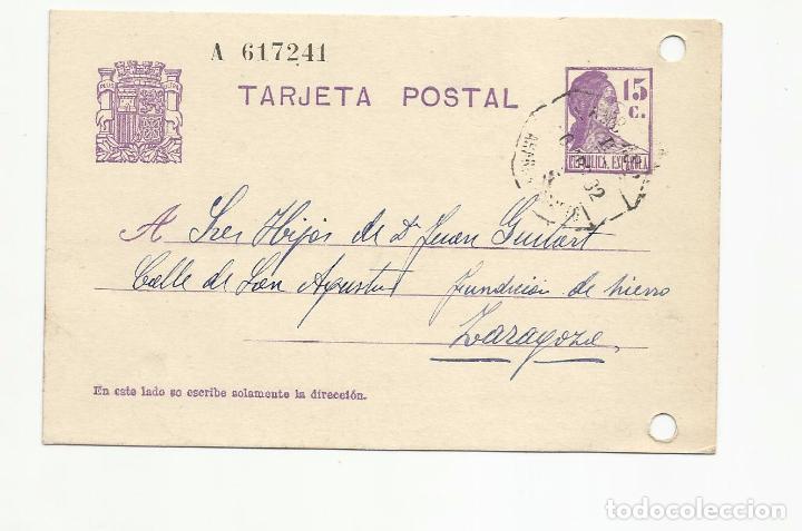 TARJETA POSTAL CIRCULADA 1932 D NOMESPE MARCA AMBULANTE ASCENDENT ARAGON A ZARAGOZA ESCRITA VER FOTO (Sellos - España - II República de 1.931 a 1.939 - Cartas)