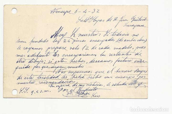 Sellos: tarjeta postal circulada 1932 d nomespe marca ambulante ascendent aragon a zaragoza escrita ver foto - Foto 2 - 78817301