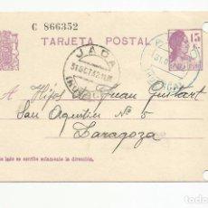 Sellos: TARJETA POSTAL EDIFIL 69 CIRCULADA 1936 DE ANSO JACA HUESCA A ZARAGOZA ESCRITA VER FOTO. Lote 78817989