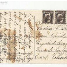 Sellos: TARJETA POSTAL VIRGEN PILAR CIRCULADA 1935 D ZARAGOZA A REQUETES ARAGON VILLALAR TERUEL VER FOTO. Lote 78819337