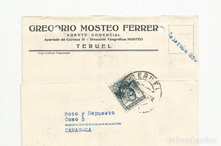 TARJETA POSTAL CIRCULADA 1936 DE TERUEL A ZARAGOZA VER FOTO (Sellos - España - II República de 1.931 a 1.939 - Cartas)