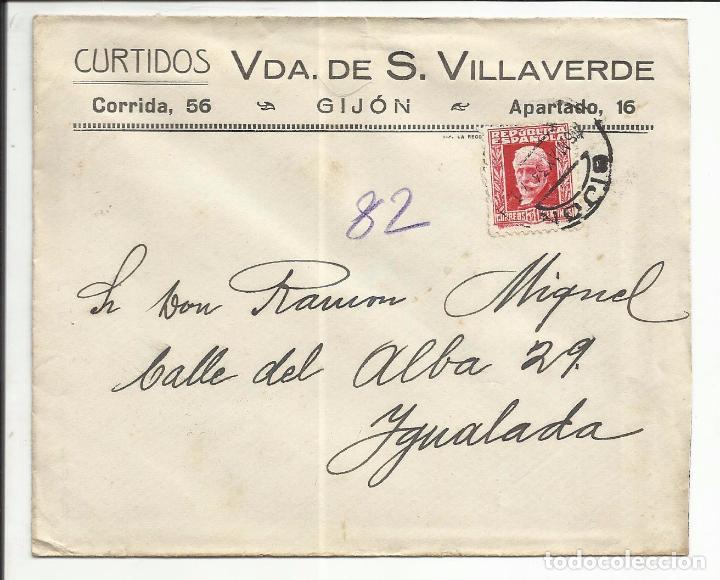 CIRCULADA 1934 DE GIJON ASTURIAS A IGUALADA BARCELONA (Sellos - España - II República de 1.931 a 1.939 - Cartas)
