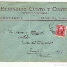 Sellos: CIRCULADA 1934 DE PLASENCIA CACERES A IGUALADA BARCELONA . Lote 81832248