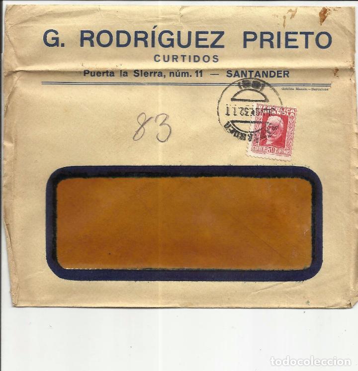 CIRCULADA 1932 DE SANTANDER A IGUALADA BARCELONA (Sellos - España - II República de 1.931 a 1.939 - Cartas)