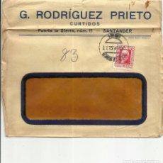 Sellos: CIRCULADA 1932 DE SANTANDER A IGUALADA BARCELONA . Lote 81832348