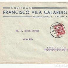 Sellos: CIRCULADA 1935 DE VALENCIA A IGUALADA BARCELONA CON FECHADOR DE LLEGADA. Lote 81832984