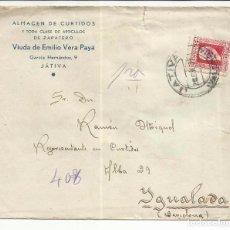 Sellos: CIRCULADA 1934 DE XATIVA VALENCIA A IGUALADA BARCELONA CON FECHADOR DE LLEGADA. Lote 81833372
