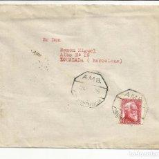 Sellos: CIRCULADA 1935 DE VILLARRAMIEL PALENCIA A IGUALADA BARCELONA CON FECHADOR AMBULANTE. Lote 81864676