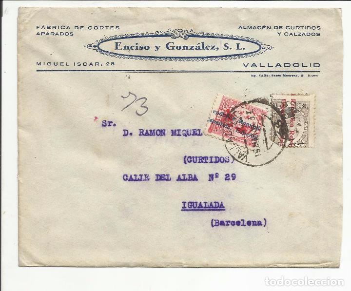 CIRCULADA 1932 DE VALLADOLID A IGUALADA BARCELONA CON FECHADOR LLEGADA (Sellos - España - II República de 1.931 a 1.939 - Cartas)