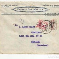 Sellos: CIRCULADA 1932 DE VALLADOLID A IGUALADA BARCELONA CON FECHADOR LLEGADA. Lote 81864952