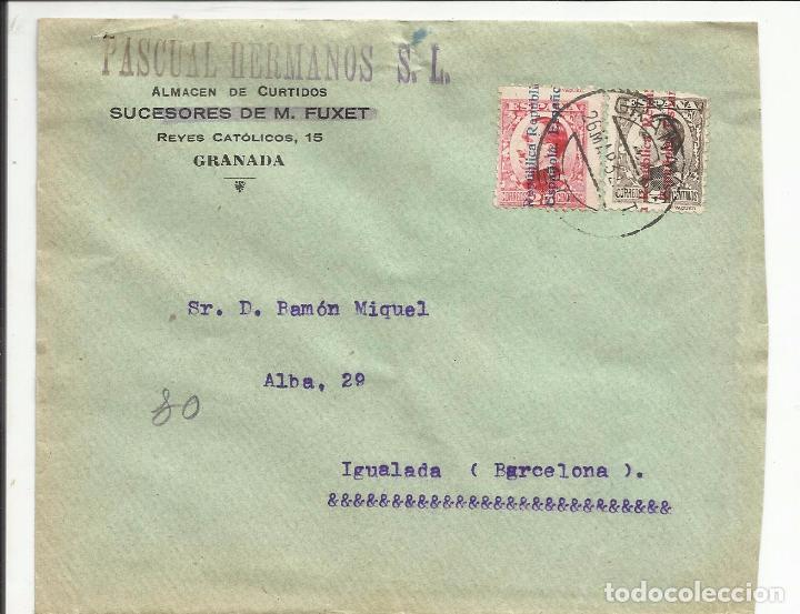 CIRCULADA 1932 DE GRANADA A IGUALADA BARCELONA CON FECHADOR LLEGADA (Sellos - España - II República de 1.931 a 1.939 - Cartas)