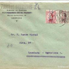Sellos: CIRCULADA 1932 DE GRANADA A IGUALADA BARCELONA CON FECHADOR LLEGADA. Lote 81865452