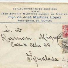 Sellos: CIRCULADA TRANSICION FILATELICA 1932 DE MURCIA A IGUALADA BARCELONA CON FECHADOR LLEGADA. Lote 81865648