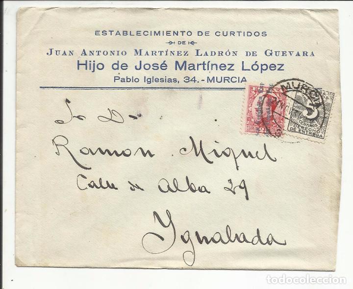 CIRCULADA TRANSICION FILATELICA 1932 DE MURCIA A IGUALADA BARCELONA CON FECHADOR LLEGADA (Sellos - España - II República de 1.931 a 1.939 - Cartas)