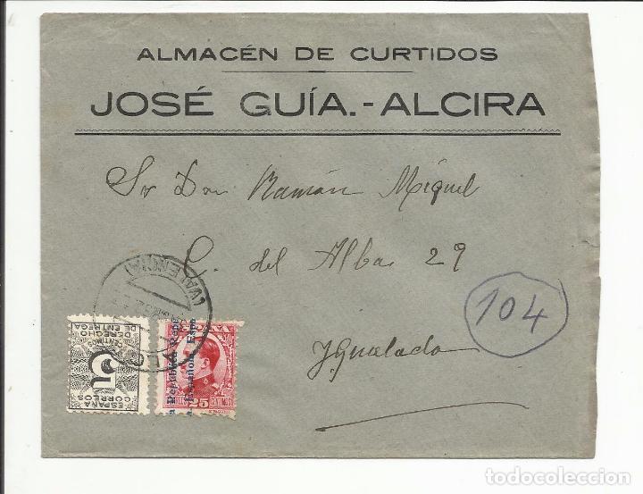 CIRCULADA TRANSICION FILATELICA 1932 DE ALCIRA VALENCIA A IGUALADA BARCELONA CON FECHADOR LLEGADA (Sellos - España - II República de 1.931 a 1.939 - Cartas)