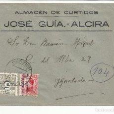 Sellos: CIRCULADA TRANSICION FILATELICA 1932 DE ALCIRA VALENCIA A IGUALADA BARCELONA CON FECHADOR LLEGADA. Lote 81866380